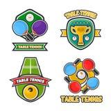 Knacka pongbordtennisklubban, och symboler för vektor för turneringutmärkelsekoppar ställer in stock illustrationer