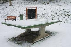 Knacka pongtabellen i en parkera under snöstorm Arkivbild
