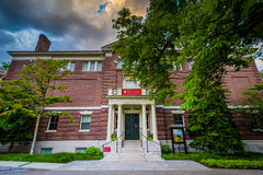 The Knafel Center at the Radcliffe Institute for Advanced Study. At sunset, at Harvard University, in Cambridge, Massachusetts royalty free stock image