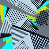 Knall-Art Abstract Geometric Collage Blue-Muster Stockbilder