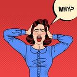 Knall Art Angry Frustrated Woman Screaming und Haupt halten mit komischer Sprache-Blase warum Stockfotografie