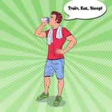 Knall Art Bodybuilder Drinking Protein Shake Nahrungs-Ergänzungen vektor abbildung