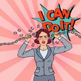 Knall-Art Business Woman Breaking Metal-Kette Starke Frau lizenzfreie abbildung