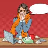 Knall Art Business Woman Feeling Sick bei der Arbeit Mädchen mit Grippe Stockfotografie