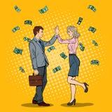Knall Art Businessman Giving High Five zur Geschäftsfrau Unten fallen Geld Stockbilder