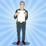 Knall Art Businessman Pointing am Blatt des leeren Papiers 3d übertragen Stockbild