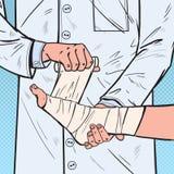 Knall Art Doctor Bandaging Patient Leg im Krankenhaus Medizinische Behandlung Doktor Bandaging Man Ankle lizenzfreie abbildung