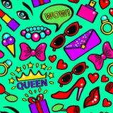 Knall-Art Girlish Fashion Sticker Background-Muster auf einem Grün Vektor vektor abbildung