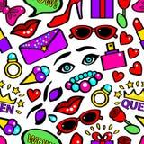 Knall-Art Girlish Fashion Sticker Background-Muster auf einem Weiß Vektor lizenzfreie abbildung