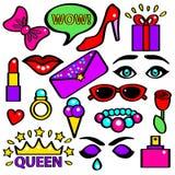 Knall-Art Girlish Fashion Sticker Color-Satz Vektor lizenzfreie abbildung