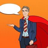 Knall Art Happy Super Businessman im roten Kap zeigend auf Kopien-Raum 3d übertragen Lizenzfreie Stockbilder