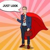 Knall Art Happy Super Businessman im roten Kap zeigend auf Kopien-Raum 3d übertragen Stockbild
