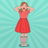 Knall Art Little Girl Screaming Konkurrenzfähiges Kind Kinderemotionaler Gesichtsausdruck vektor abbildung
