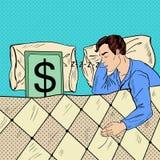 Knall Art Man Sleeping im Bett mit Dollar-Banknote lizenzfreie abbildung
