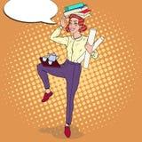 Knall Art Multitasking Business Woman bei der Arbeit Überlastungs-Büro-Sekretär vektor abbildung