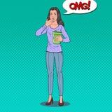 Knall Art Sick Woman Throw Up Ungesundes Gefühls-Mädchen Panikattacke, Magenschmerzen Lizenzfreies Stockfoto