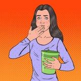 Knall Art Sick Woman Throwing Up Ungesundes Gefühls-Mädchen Panikattacke, Magenschmerzen Lizenzfreies Stockbild