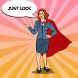 Knall Art Smiling Super Business Woman im roten Kap stock abbildung