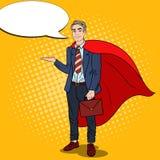 Knall Art Smiling Super Businessman im roten Kap zeigend auf Kopien-Raum 3d übertragen Lizenzfreies Stockbild