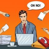 Knall Art Stressed Businessman mit Laptop am Mehrere Dinge gleichzeitig tun der Büro-Arbeit stock abbildung