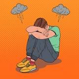Knall Art Stressed Young Man Sitting auf dem Boden Lizenzfreies Stockbild