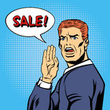 Knall Art Style Sale Poster Weinlese-Mann-Ruf-Verkauf Lizenzfreies Stockbild