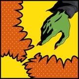 Knall Art Style Witch Hand, Vektor-Illustration Stockfoto