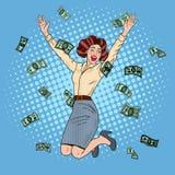 Knall Art Successful Jumping Business Woman Stockbilder