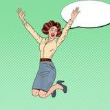 Knall-Art Successful Jumping Business Woman-Feiern Lizenzfreie Stockfotos