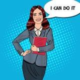 Knall Art Successful Smiling Business Woman, der Ordner hält Stockbilder