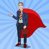 Knall Art Super Businessman im roten Kap zeigend auf Kopien-Raum 3d übertragen Lizenzfreies Stockfoto