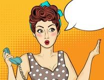Knall Art Woman Komische Frau mit Spracheblase lizenzfreies stockbild