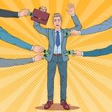 Knall Art Worried Businessman mit den Händen herauf gekleidetes durch Diebe Taschendiebe stiehlt Geld vom Mann stock abbildung