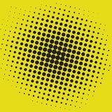 Knall-Art Yellow Black Dots Comic-Hintergrund-Vektor-Schablonen-Design Stockfoto