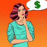 Knall Art Young Beautiful Woman Thinking über Geld Stockfotos