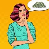 Knall Art Young Beautiful Woman Thinking über Geld Lizenzfreie Stockfotos