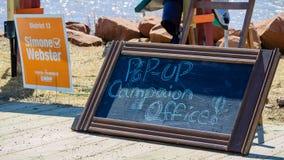 Knall-obenkampagnenb?ro von Simone Webster, NDP-Kandidat im P e I wahl stockfotografie