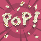 Knall! Popcorngussart Stockfotografie