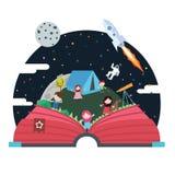 Knallen Sie oben Buchkinderillustrationsraum astronout Himmelraumschiff Stockfotografie