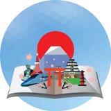 Knallen Sie oben Kartenreise nach Japan stockfoto