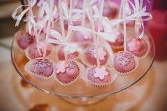 Knalt de huwelijks roze cake op plaat Stock Afbeeldingen
