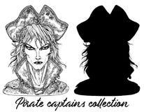 Knap die piraatkapitein en silhouet op wit wordt geïsoleerd stock illustratie