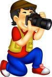 Knap fotograafbeeldverhaal in actie met het lachen vector illustratie
