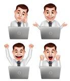 Knap professioneel mensen vectordiekarakter - met verschillende acties wordt geplaatst Royalty-vrije Stock Afbeeldingen