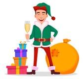 Knap Santa Claus-helperelf stock illustratie