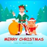 Knap Santa Claus-helperelf vector illustratie