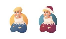 Knap vlak ontwerpsetmalplaatje met vector de winterkleren van hipster Skandinavische manin in beeldverhaalstijl De Banner van Ker stock illustratie