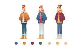 Knap vlak ontwerpsetmalplaatje met vectorjongens in de winterkleren in beeldverhaalstijl De elementen van de Kerstmisbanner vector illustratie