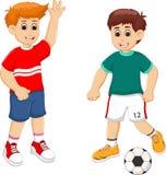 Knap voetballerbeeldverhaal in actie vector illustratie