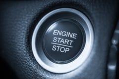 Knapp för bil för motor för startstopp vit arkivfoton